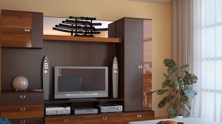Skåp möbler för vardagsrummet: funktioner i valet