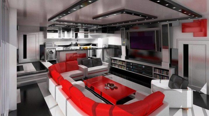 Cuisine-salon dans un style high-tech: caractéristiques d'un intérieur moderne