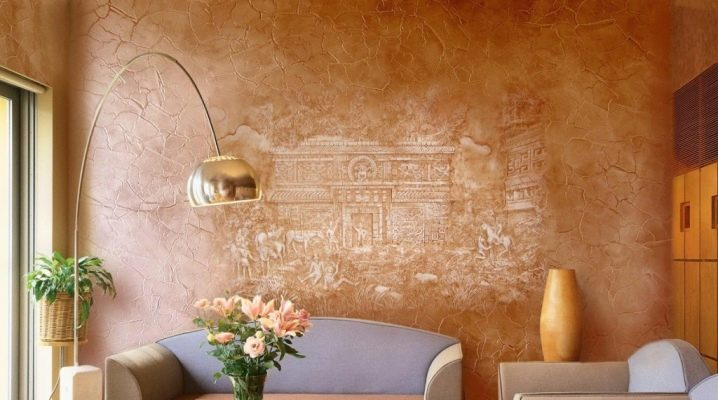Bakgrund med effekten av dekorativa gips i inredningen