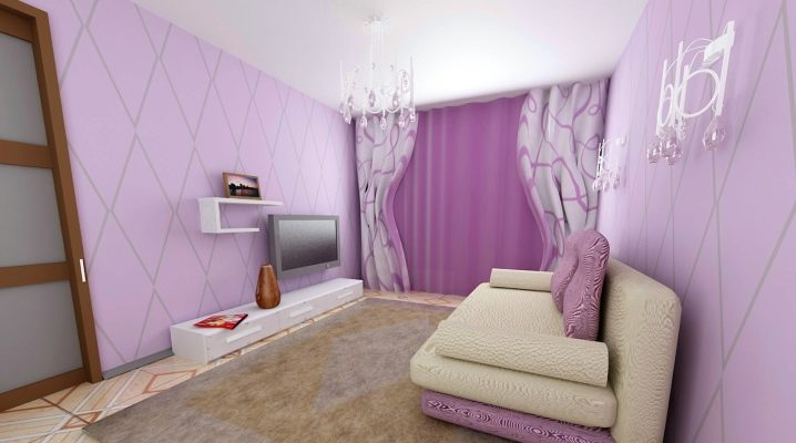 We select the curtains under the lilac wallpaper