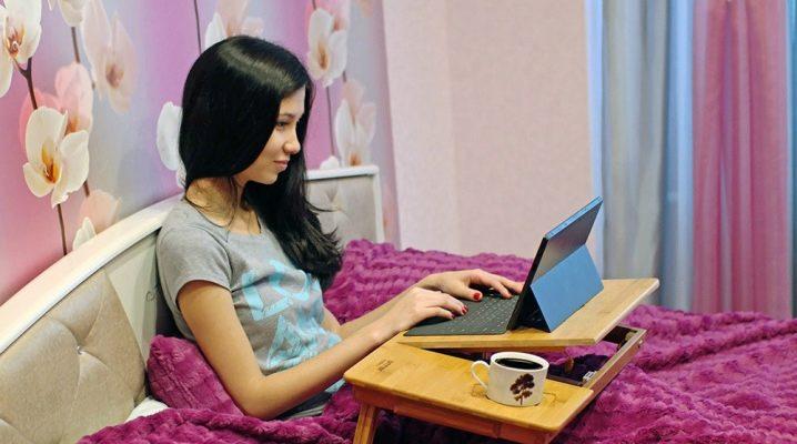 Välja ett bord för en bärbar dator i sängen