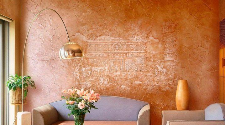 Dekorativ färg för väggar med effekt av sand: intressanta alternativ i inredningen