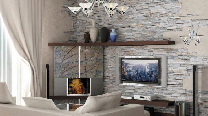 Dekorativ sten i vardagsrummet