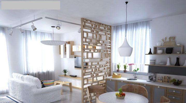 Cuisine-salon dans le style scandinave: idées de design d'intérieur