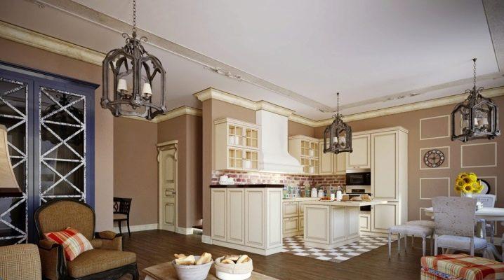 Kök-vardagsrum i Provence stil: komfort och praktiska i inredningen