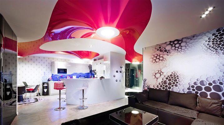 Sträcktak i hallen: vacker design av vardagsrummet
