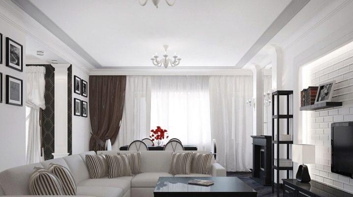 Caractéristiques salon de design d'intérieur dans différents styles