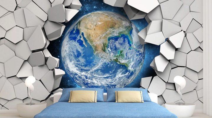 Stereoskopisk 3D tapeter för väggar: modeideer i inredningen