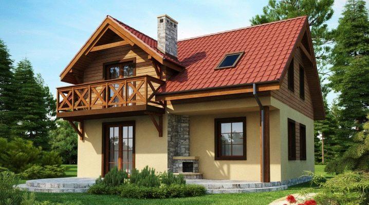 Vackra projekt av hus med ett loft på upp till 120 m2