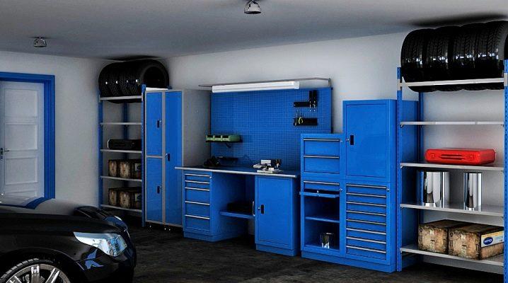 Möbler för garaget: Exempel på arrangemang av rummet