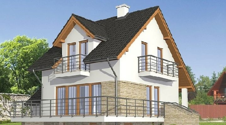 Projects of houses with basement and attic