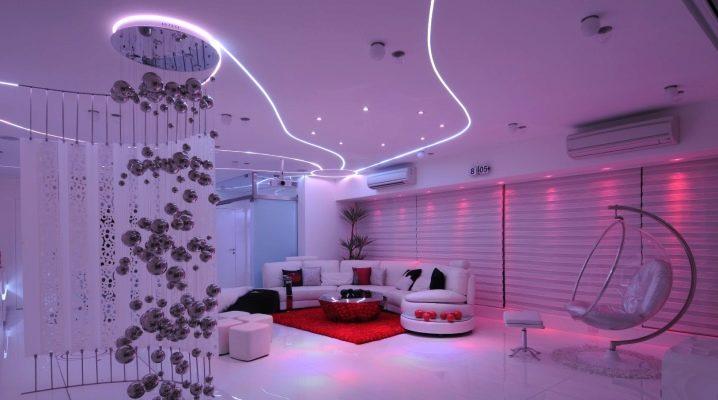 Plafonds suspendus lumineux: design et idées de design