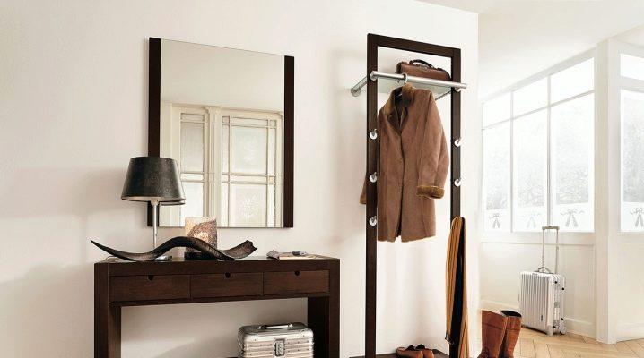 Jetée dans le hall: options de conception pour les miroirs, caractéristiques de placement