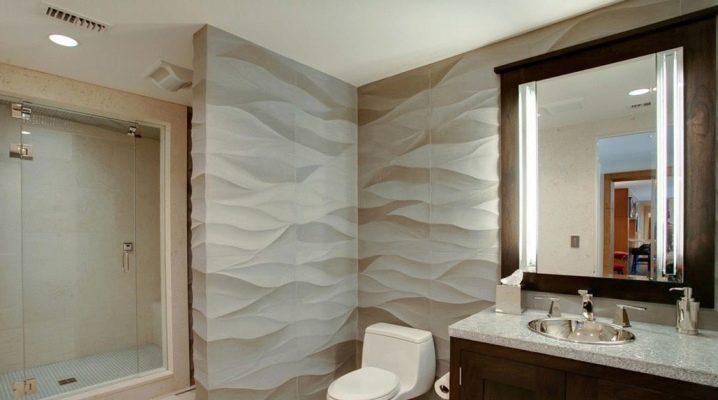 3D badrumsplattor: funktioner, fördelar och åsikter