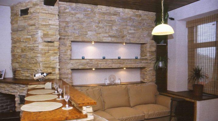 Dekorativ sten för inredning: snygga designideer