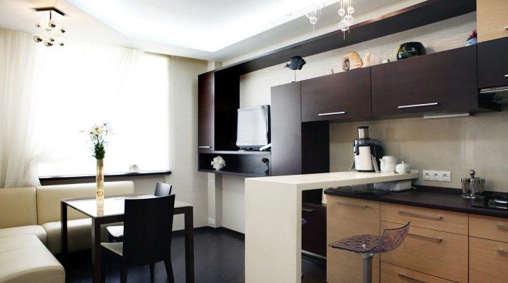 Kök-vardagsrum på 13 kvadratmeter. m