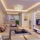 Two-level plasterboard ceilings for living room: hall design