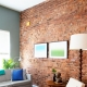 Brick wall decoration in the living room interior