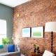 Oturma odası iç tuğla duvar dekorasyonu