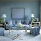 The subtleties of the living room design in blue tones