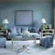 Les subtilités du design du salon dans les tons bleus
