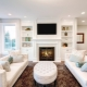 White fireplace in interior design