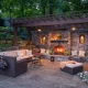 Outdoor fireplace in landscape design