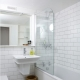 White tile for the bathroom: material features and finishing options