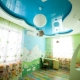 Two-level suspended ceiling in the interior of the children's room