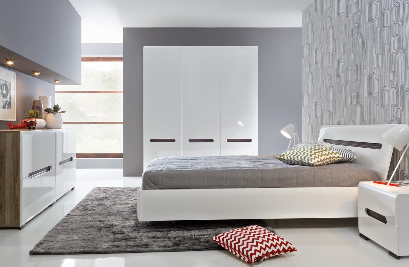 White Bedroom Furniture 51 Photos Modern Bedroom Design With Glossy Furniture In Peach And Blue Lilac And Blue Lacquered
