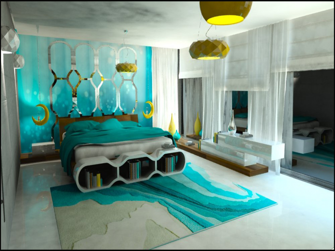 Salle De Bain Chocolat Turquoise chambre turquoise (68 photos): aménagement intérieur dans