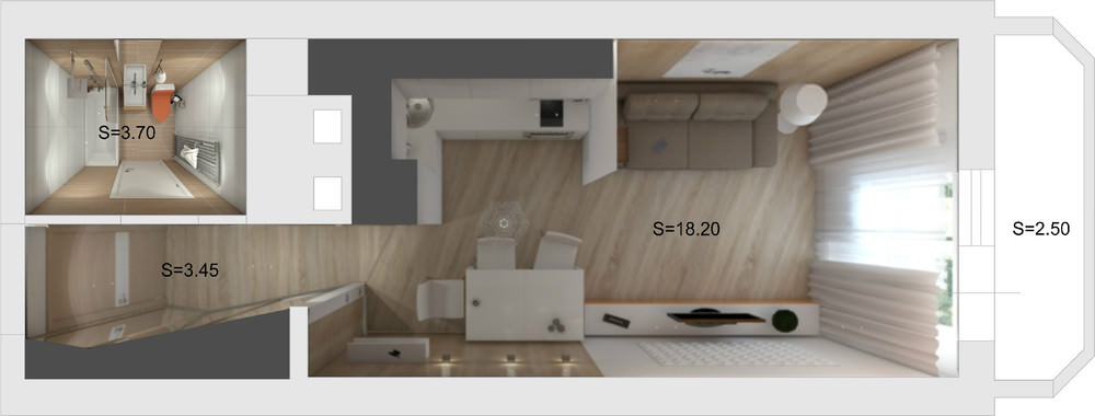 Design Studios 27 Sq M With A Balcony 70 Photos Design Of Small Apartments Planning A Rectangular Room