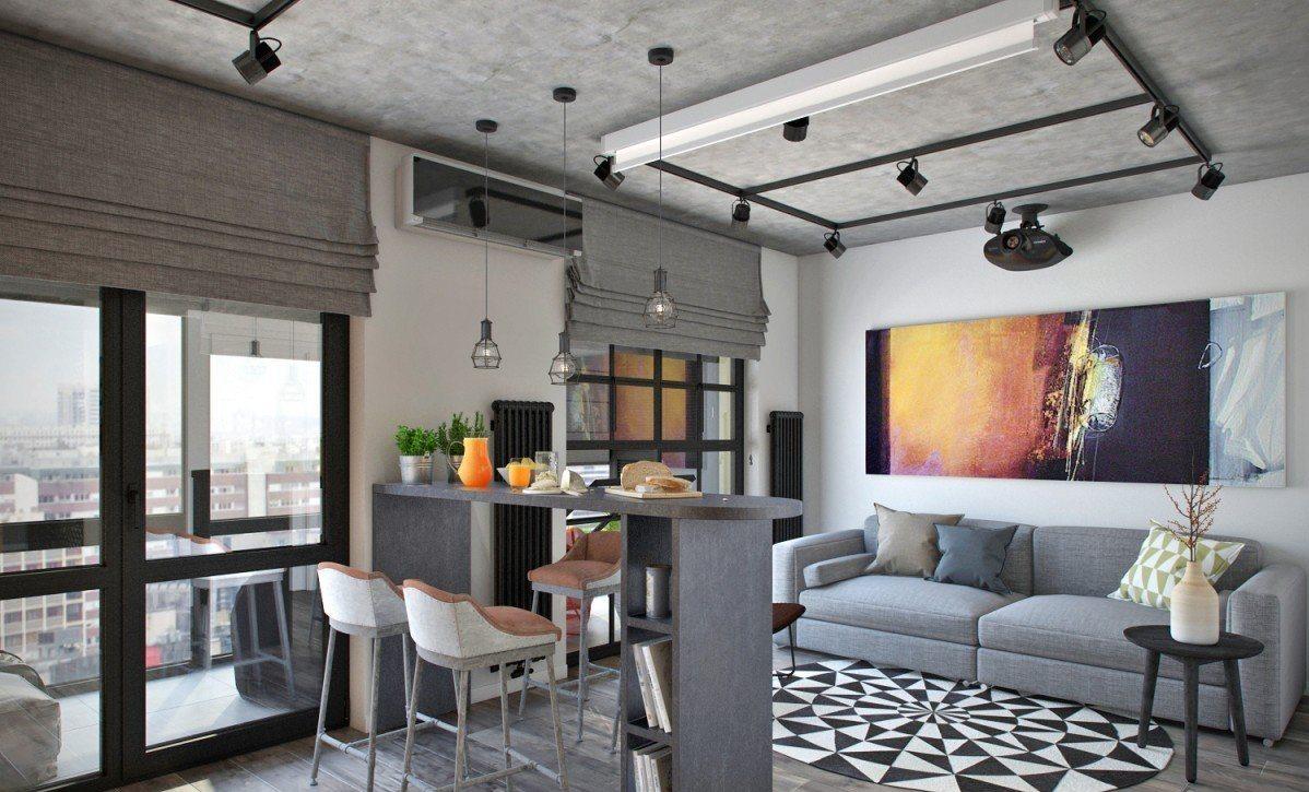 Arredare Monolocale 20 Mq studi di design 27 mq. m. con un balcone (70 foto