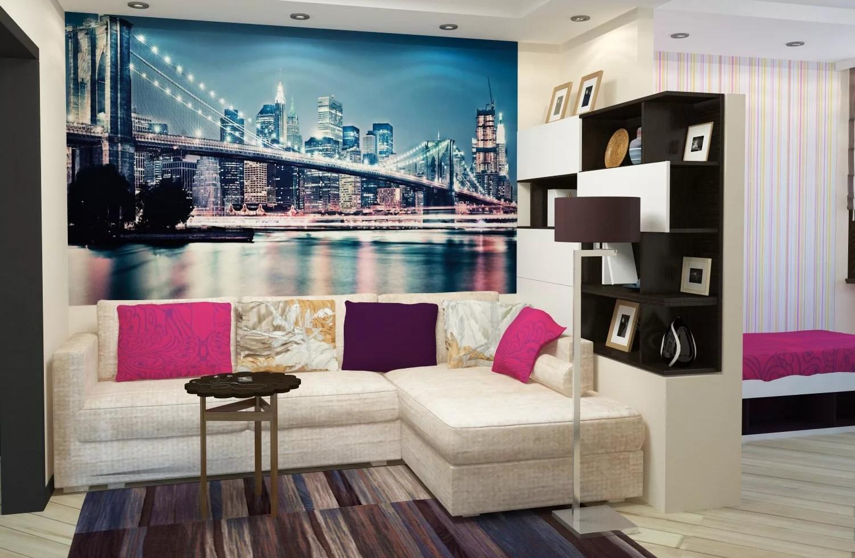 Papier Peint Petit Salon conception d'un petit salon-chambre à coucher (40 photos