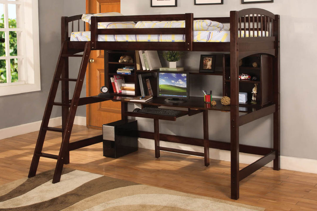 Picture of: Bunk Beds With A Table 46 Photos A Transforming Bed With A Wardrobe And A Sliding Table At The Bottom