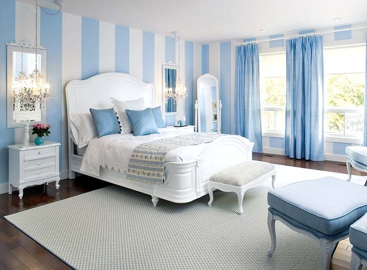 Blue Wallpaper In The Bedroom 29 Photos Interior Design In Blue Curtains And Ceiling