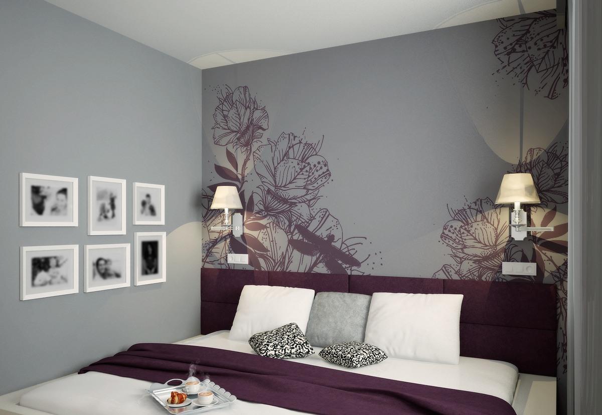 Bilik Tidur Dalam Nada Kelabu Violet Reka Bentuk Dalaman