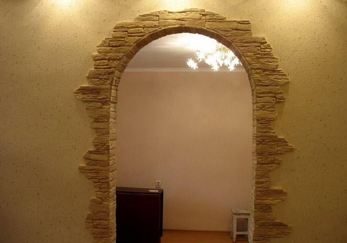 Rivestire Un Arco In Legno decorare l'arco con una pietra decorativa (51 foto