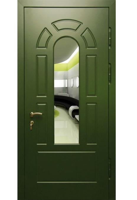 Pintu Logam Ke Apartmen Dengan Cermin