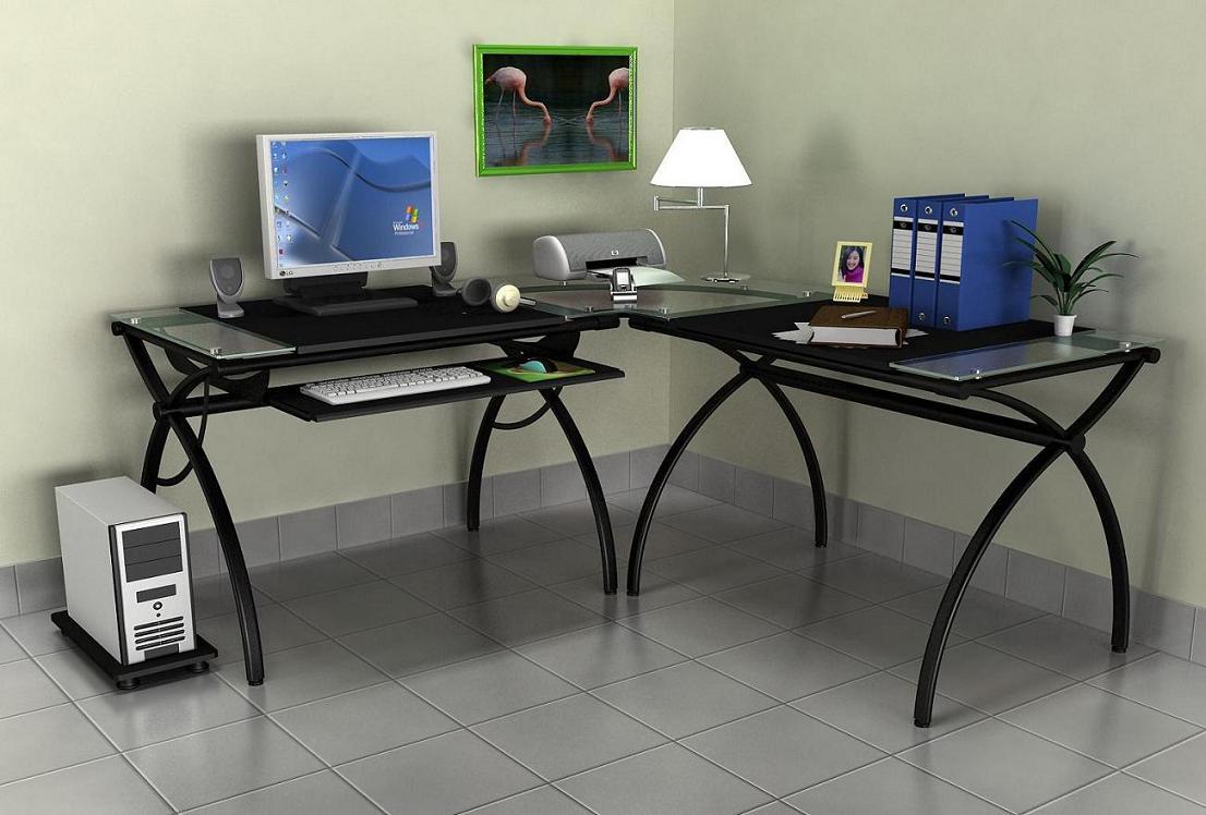 Corner Gl Computer Table Black