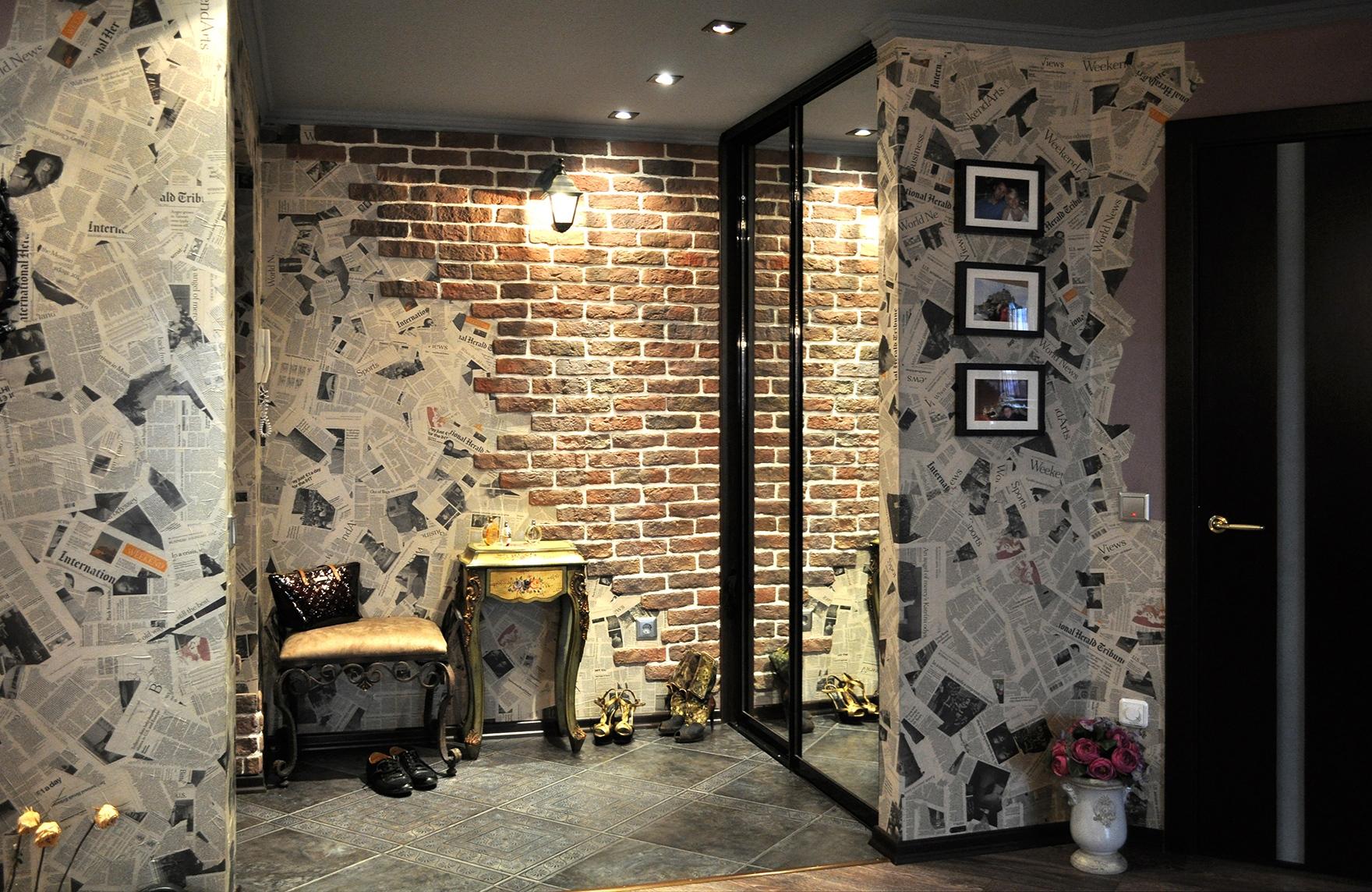 Papier Peint Entree Moderne papiers peints dans le couloir imitant la brique (50 photos