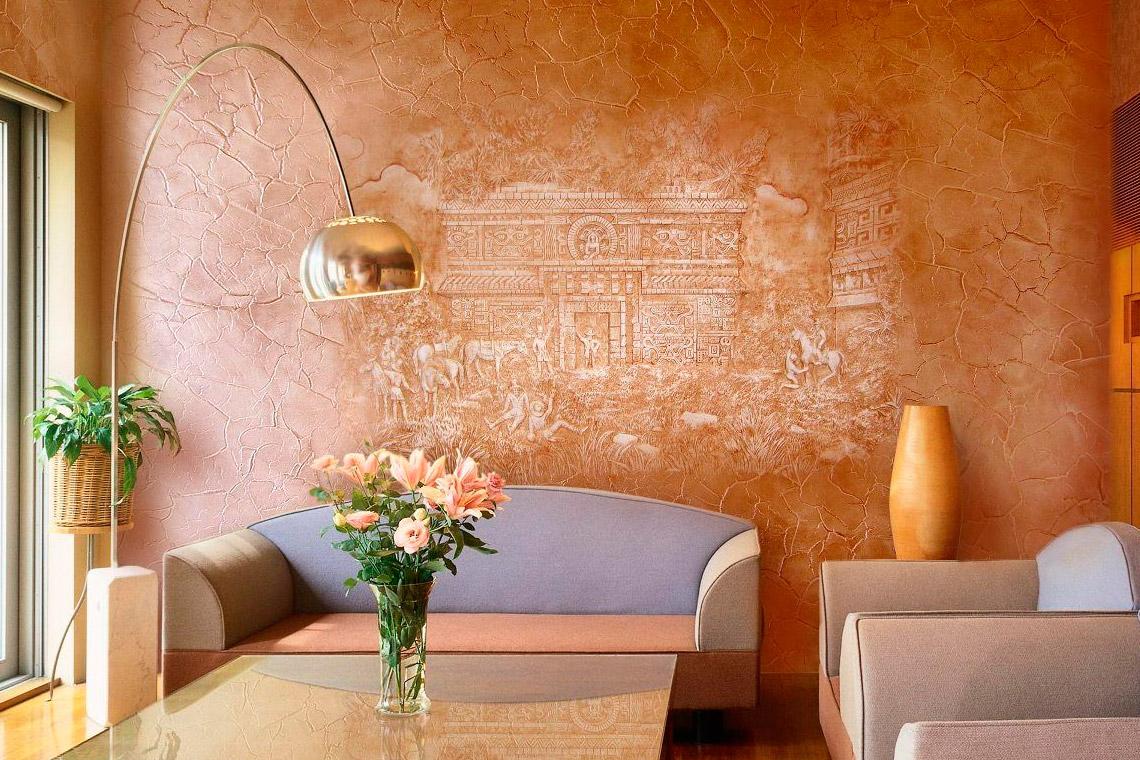 Peinture Decorative Pour Murs A Effet De Sable Enduits De Nacre Au Sable De Quartz Application De Platre Et Peinture
