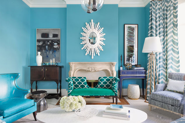 Living Room In Turquoise Colors 49, Turquoise Living Room