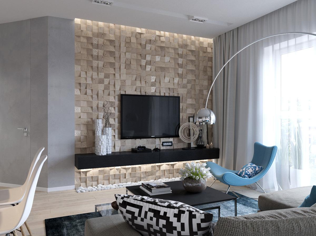 Appendere Tv Muro design a parete con tv in salotto (52 foto): come decorare