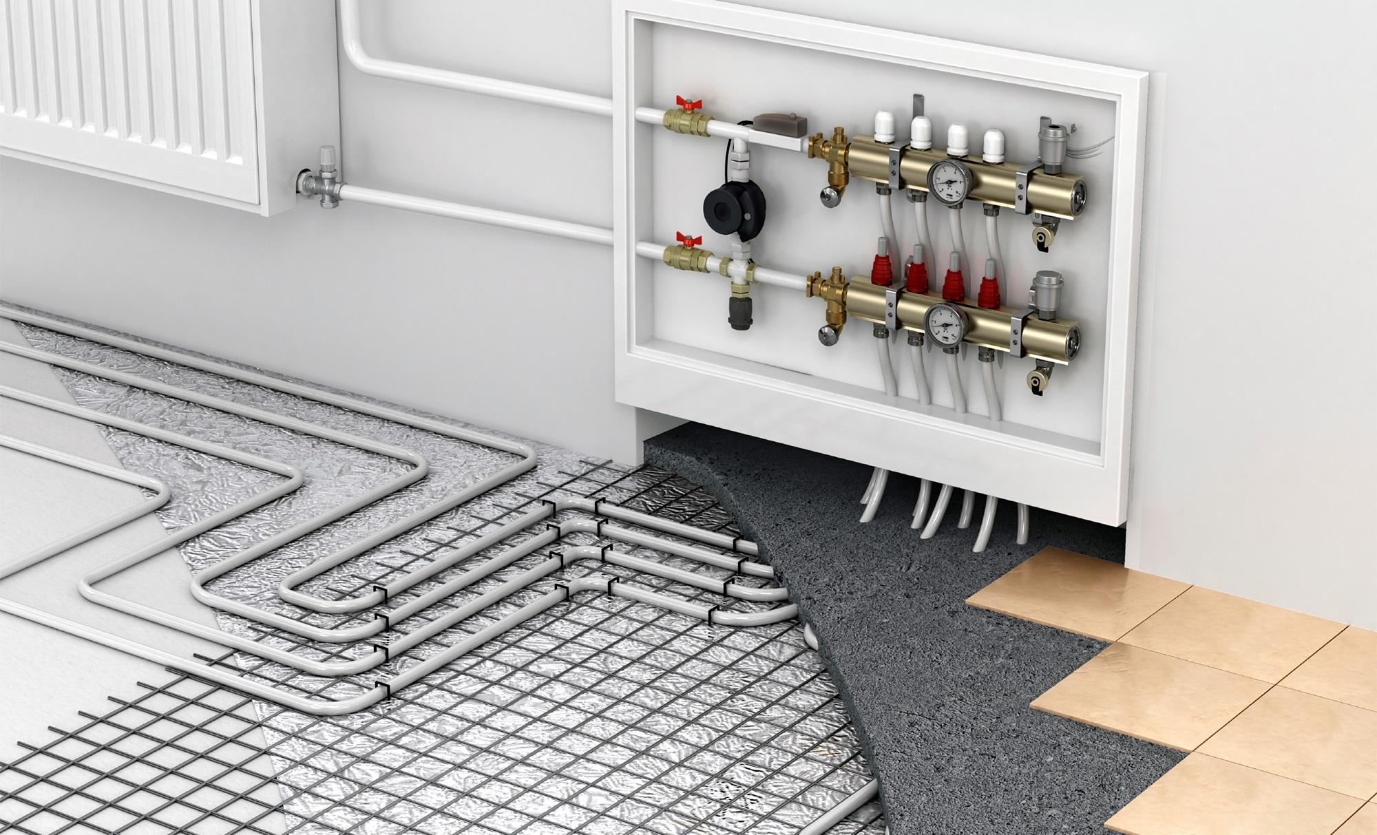 Riscaldamento A Pavimento E Raffreddamento collettore per riscaldamento a pavimento (64 foto): gruppo