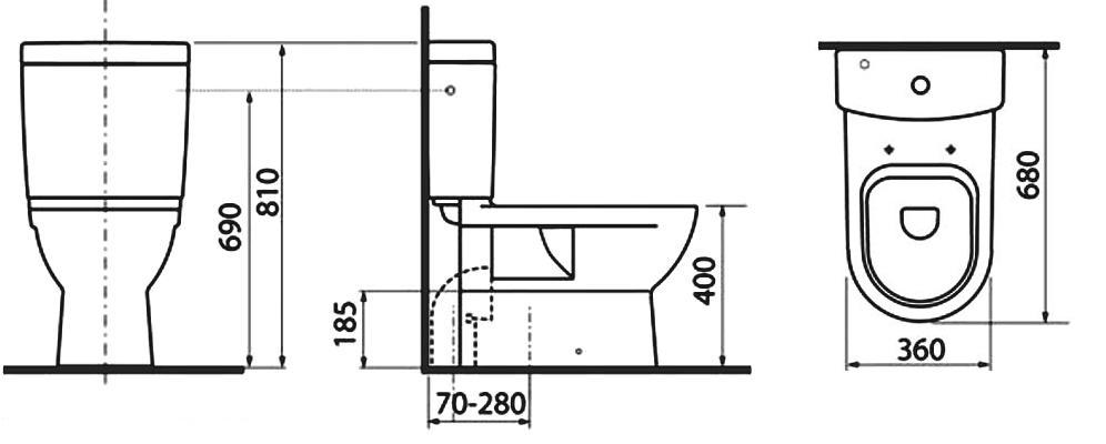 Populair Afmetingen toiletpot: standaardafmetingen ingebouwd met een MA22