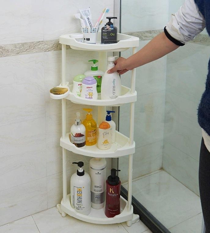 Rak Lantai Di Dalam Bilik Mandi Rak Logam Pada Roda Dan Pendirian Keluli Tahan Karat Untuk Mandi Dan Tandas