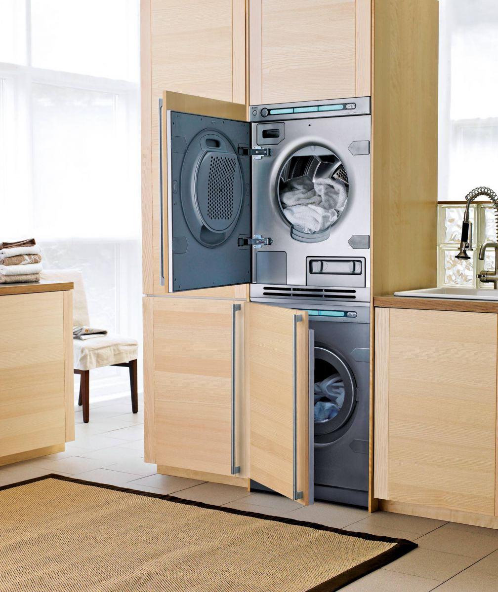 Kast Voor Wasmachine In De Badkamer Met Ingebouwde Droger