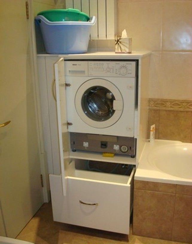 Kast Voor Wasmachine In De Badkamer Met Ingebouwde Droger En Wasmachine Model Van Ikea