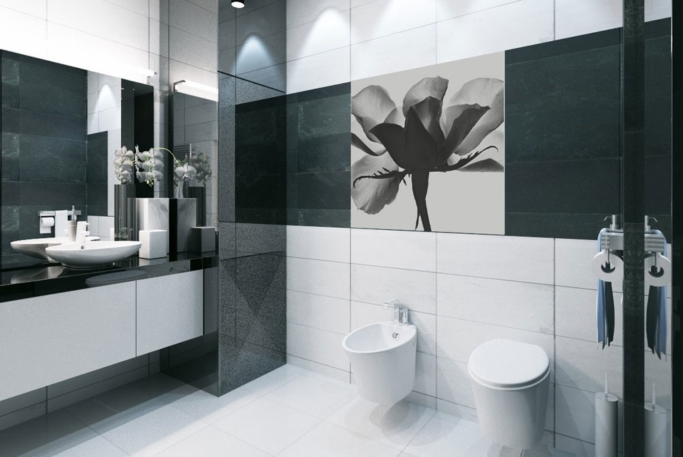 Bagno Moderno Bianco E Nero.Bagno In Bianco E Nero 35 Foto Piccole Stanze Con Un Mosaico